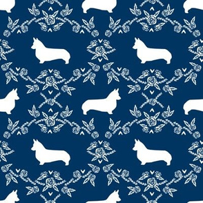 corgi dog breed silhouette florals navy