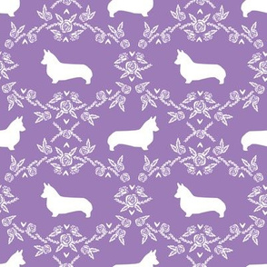 corgi dog breed silhouette florals purple