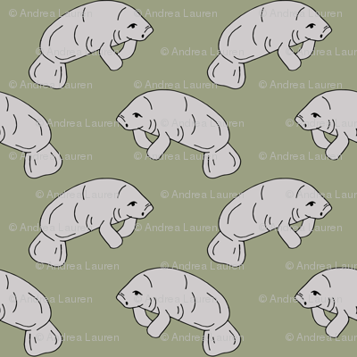 manatee fabric // manatees dugong animals design andrea lauren fabric - artichoke