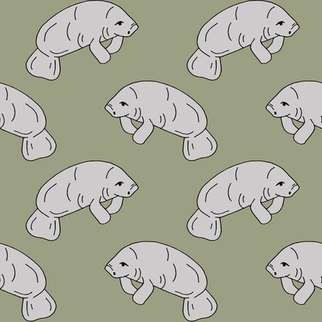 manatee fabric // manatees dugong animals design andrea lauren fabric - artichoke fabric by andrea_lauren on Spoonflower - custom fabric