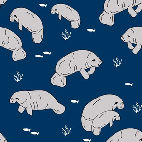manatee fabric // manatees dugong animals design andrea lauren fabric -navy