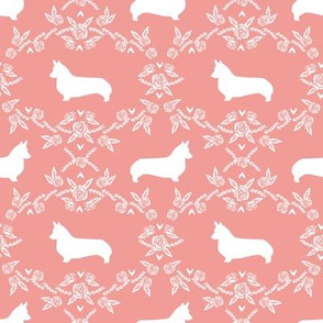 corgi dog breed silhouette florals sweet pink