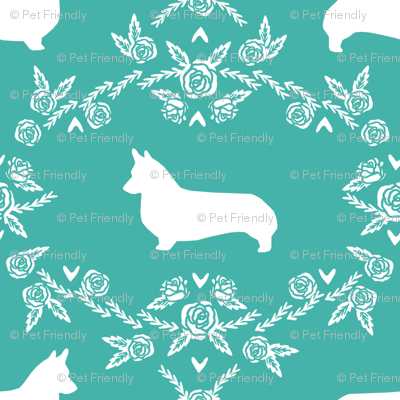 corgi dog breed silhouette florals turquoise