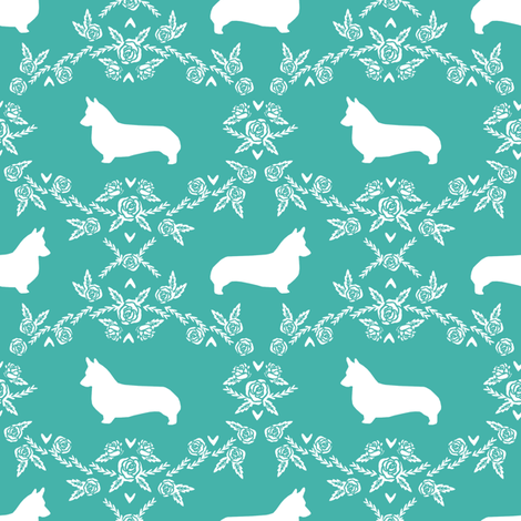 corgi dog breed silhouette florals turquoise fabric by petfriendly on Spoonflower - custom fabric