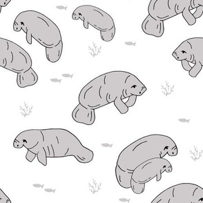 manatee fabric // manatees dugong animals design andrea lauren fabric - white