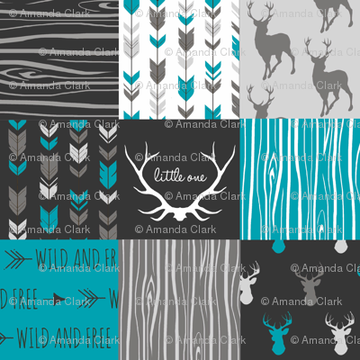 Patchwork Deer - Teal Ironwood - Wholecloth quilt