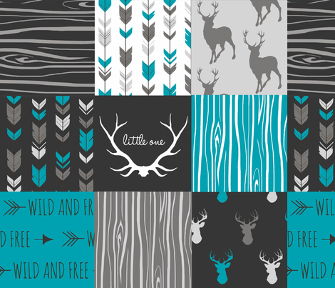 Patchwork Deer - Teal Ironwood - Wholecloth quilt fabric by sugarpinedesign on Spoonflower - custom fabric