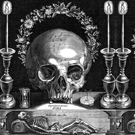 skulls skeletons candlesticks candle holders candelabra flowers floral crowns wreaths leaf leaves hourglasses time sundials frogs birds bats tombs catacombs funerals death monochrome black white corpses altars witchcraft pagan Wicca spooky macabre morbid fabric by raveneve on Spoonflower - custom fabric