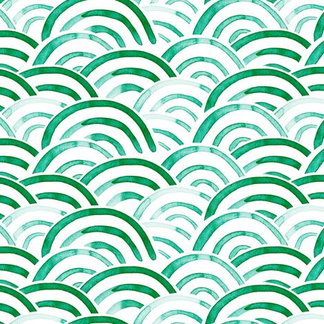 watercolor rainbows - emerald fabric by littlearrowdesign on Spoonflower - custom fabric