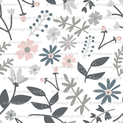 Grey and Pink Flowers