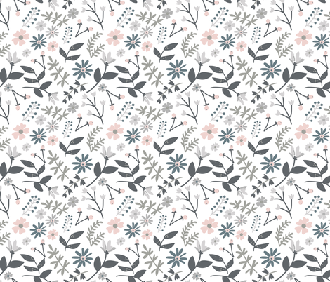 Grey and Pink Flowers fabric by beesweet on Spoonflower - custom fabric