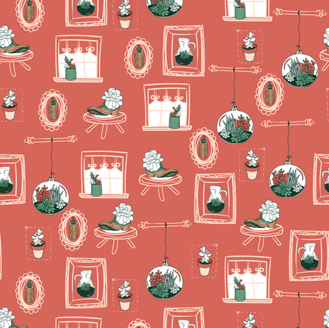 Succulent Sweet Home-Rhubarb fabric by jamielewisdesigns on Spoonflower - custom fabric