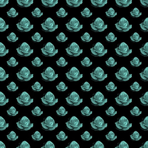 Teal Rose Fabric 1