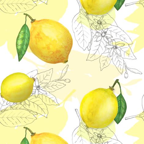 Fresh lemons  on white fabric by align_design on Spoonflower - custom fabric