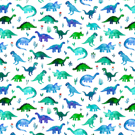 Extra Tiny Dinos in Blue and Green on White fabric by micklyn on Spoonflower - custom fabric