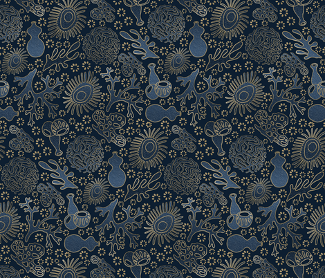 Dark Coral Garden fabric by gingerlique on Spoonflower - custom fabric