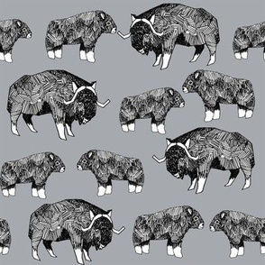 musk ox fabric // arctic animal fabric canada alaska greenland -  grey