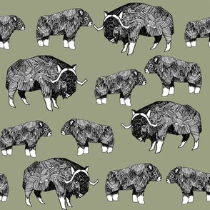 musk ox fabric // arctic animal fabric canada alaska greenland - artichoke