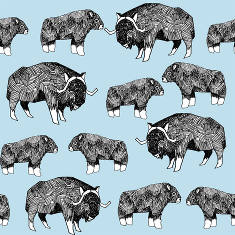 musk ox fabric // arctic animal fabric canada alaska greenland - light blue fabric by andrea_lauren on Spoonflower - custom fabric
