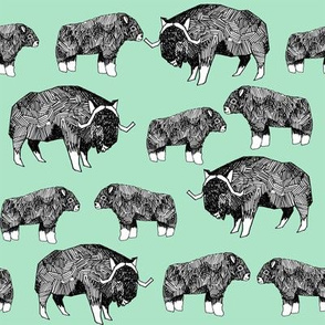 musk ox fabric // arctic animal fabric canada alaska greenland - mint