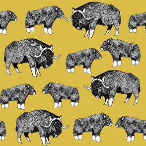 musk ox fabric // arctic animal fabric canada alaska greenland - mustard