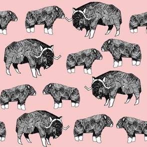 musk ox fabric // arctic animal fabric canada alaska greenland - pale pink