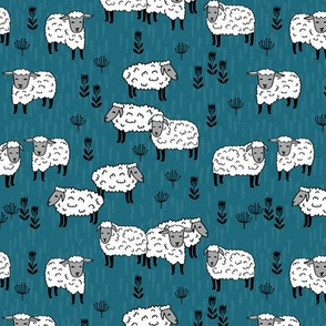 sheep fabric // field of sheep fabric bondi blue
