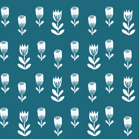 tulip flower fabric // nursery baby design simple delicate floral fabric - bondi blue fabric by andrea_lauren on Spoonflower - custom fabric