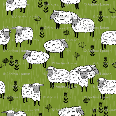 sheep fabric // field of sheep wool animals farms animals - moss green