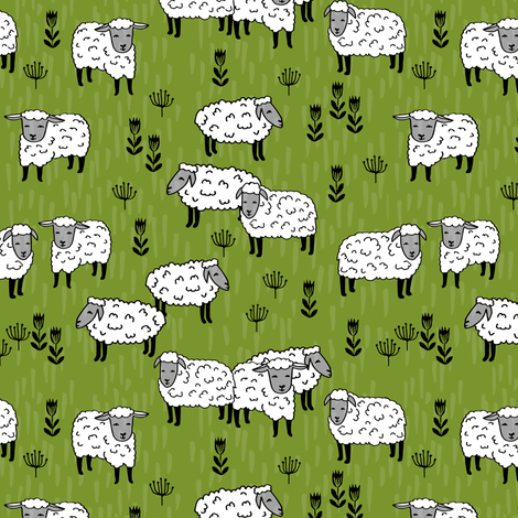 sheep fabric // field of sheep wool animals farms animals - moss green fabric by andrea_lauren on Spoonflower - custom fabric