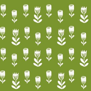 tulip flower fabric // nursery baby design simple delicate floral fabric - moss green