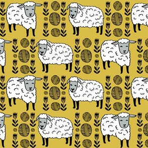 sheep fabric // field of sheep wool animals farms animals - mustard