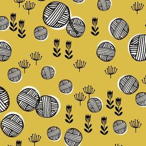 yarn fabric // knitting yarn ball crochet knitter design by andrea lauren - mustard