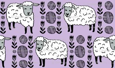 sheep fabric // field of sheep wool animals farms animals - pastel purple