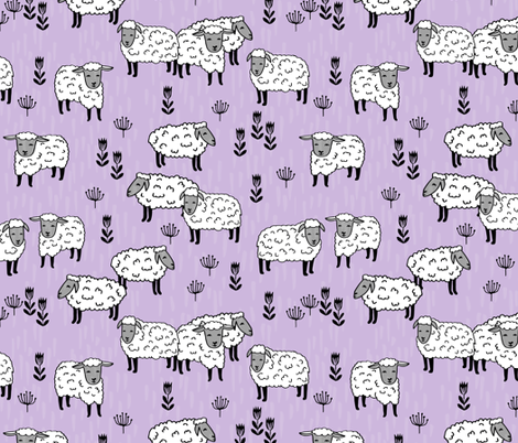 sheep fabric // field of sheep wool animals farms animals - pastel purple fabric by andrea_lauren on Spoonflower - custom fabric