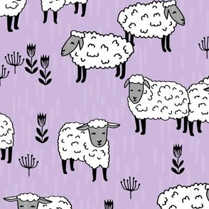 sheep fabric // field of sheep wool animals farms animals - pastel purple