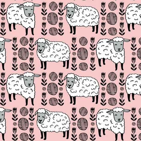 sheep fabric // field of sheep wool animals farms animals - pale pink fabric by andrea_lauren on Spoonflower - custom fabric