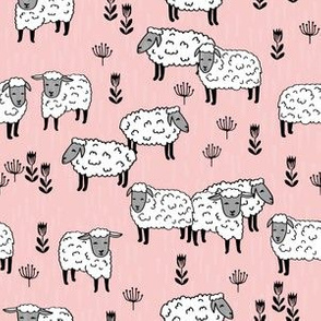 sheep fabric // field of sheep wool animals farms animals - pale pink