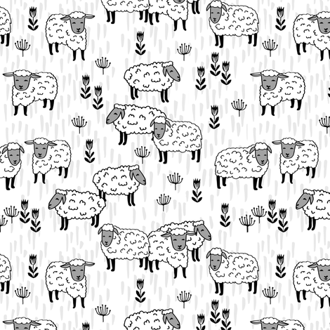 sheep fabric // field of sheep wool animals farms animals - white fabric by andrea_lauren on Spoonflower - custom fabric