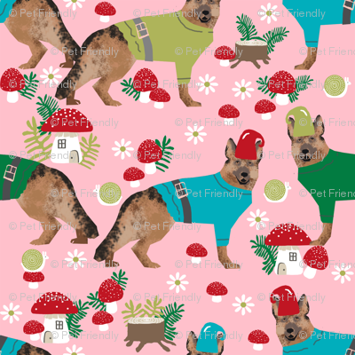 german shepherd fabric gnomes mushrooms fairytales woodland - pink