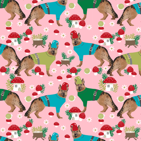 german shepherd fabric gnomes mushrooms fairytales woodland - pink fabric by petfriendly on Spoonflower - custom fabric