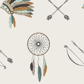 Jumbo scale - Dreamcatchers headdress // mint and teal