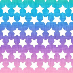Stars Pastel Rainbow Linen