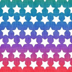Stars Bright Rainbow Linen