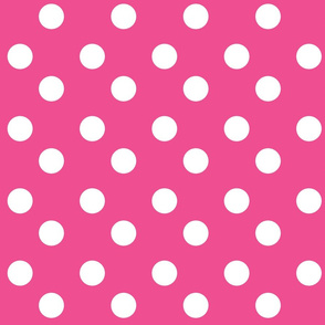 polka dots Large -hottie pink white dots