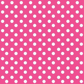 polka dots MEDIUM 2x2 -hottie pink white dots