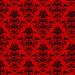 Joan Damask  ~ Corine ~  Black on Richelieu Red