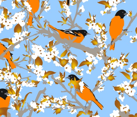 Orioles in the orchard plucking pear blossoms - large fabric by rusticcorgi on Spoonflower - custom fabric