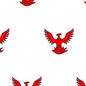Argent, a Phoenix Gules