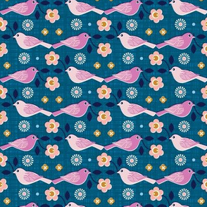 Birds & Blooms* (Blue Liz) || bird flower flowers floral stem leaves texture linen spring coral mustard
